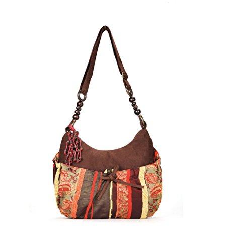 Nasis Fashion weiß Stoffdruck Design exotische Damen Flachs Tote Schultertasche Alltagtasche AL4061 (kaffee)