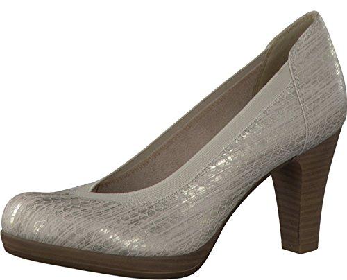 Tamaris Schuhe 1-1-22418-28 Bequeme Damen Pumps, Sommerschuhe für Modebewusste Frau, SILVER STRUCT.