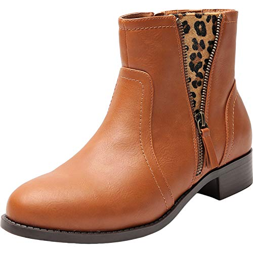 Women's Wide Width Ankle Boots - Low Heel Round Toe Slip on Side Zip Leopard Print Elastic Band Booties(180607 Brown 8.5WW)