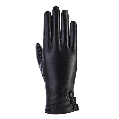 MoDA Women's Ms. Geneva Genuine Leather Fully Lined Texting Enabled Winter Gloves,Black,Medium