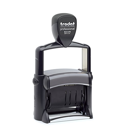 Trodat Professional 5117 Phrase/Date Stamp-12 English Phrases: Paid, Shipped, Received, E-Mailed, and More 12 Year Dates upto 65-Percent Recycled Plastic