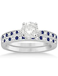 Blue Sapphire and Diamond Engagement Ring Set Palladium (0.55ct) (No center stone included)