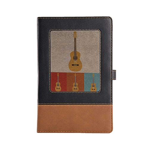 DIY Series Notebooks Guitar Rich Patterns and Various Styles Leather Notebook A5, 8.6 x 6.1 Inches (Rv Series Guitar)