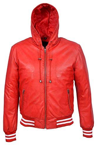 BASEBALL 4486 Rouge Hommes Hoody Slim Fit élégant HipHop veste en cuir italienne