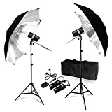 LimoStudio 200Watt Digital Strobe Flash Light & Umbrella Reflector Holder, Wireless Remote Trigger & Receiver Set, 33 inch Black/Silver Photo Umbrella Reflector for Photo Studio, TEMAGG2830