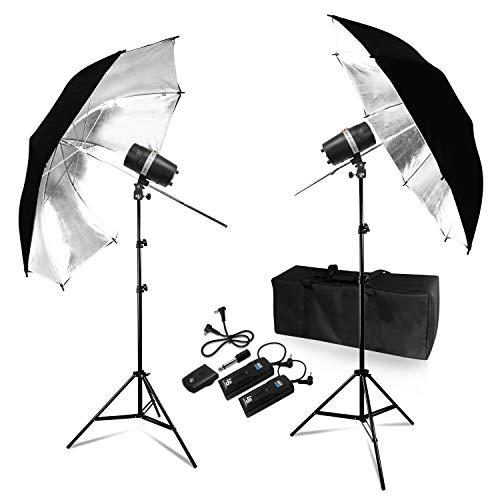 LimoStudio 200Watt Digital Strobe Flash Light & Umbrella Reflector Holder, Wireless Remote Trigger & Receiver Set, 33 inch Black/Silver Photo Umbrella Reflector for Photo Studio, TEMAGG2830