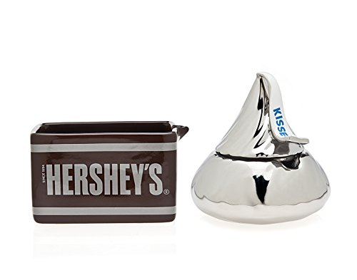 Godinger Silver Art Hersheys Bar And Giant Kiss Candy Boxes Dishes Centerpieces, Set of 2