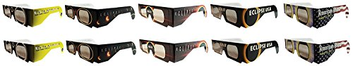 Price comparison product image Eclipse Glasses - CE Certified Safe Solar Eclipse Glasses – 10pk Assorted- Eye Protection random color
