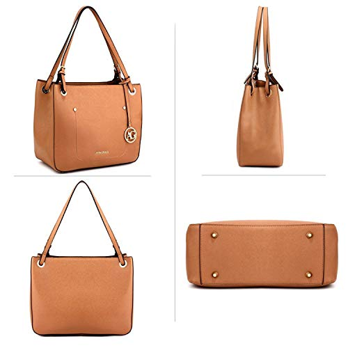 Womens Bags Shoulder Brown 2 Leather Style Handbags Designer Ladies Design Faux Tote WaUnrW