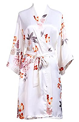 GoldOath Women's Floral Silk-like Kimono Robes for Bride and Bridesmaid Wedding Party Gifts,with Side Pockets