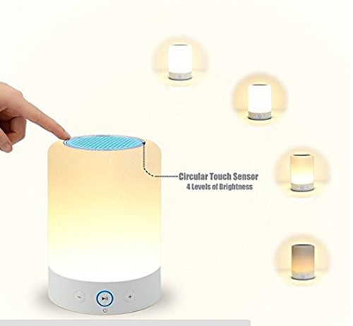 LIGHTSTORY Smart Light Speaker - Bedside Lamp with Bluetooth Speak, Sensitive Touch Sensor, Multi-Color Changing Table LED Lamp, Smart Portable Wireless Night Light, White
