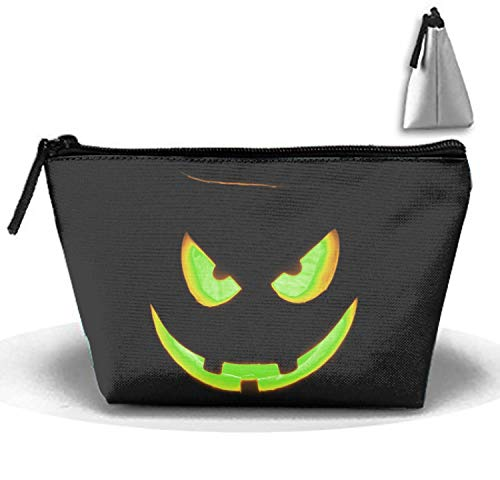 (Halloween Evil Face Painting Makeup Pouch Portable Travel Cosmetic Bags Durable Waterproof Trapezoidal Strorege)