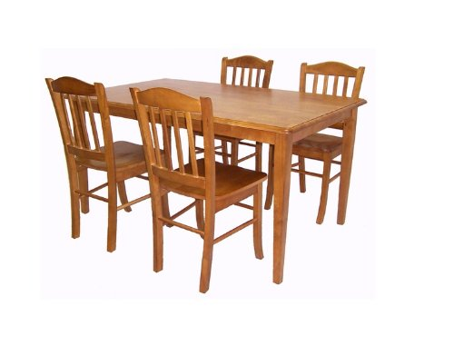 Boraam 80136 Shaker 5-Piece Dining Room Set, Oak (Cheap Counter Height Dining Sets)