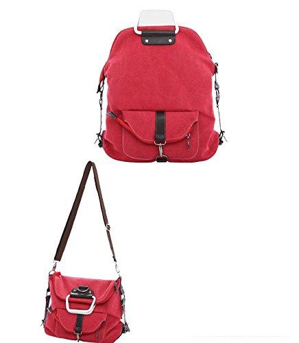WITERY - Mochila unisex con 3 funciones, bolsa de bandolera, bolsa de asa o mochila, estilo casual y retro, Red (rojo) - CLOA0021-02 rojo