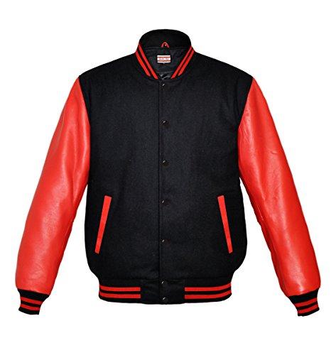Orginal American Style Varsity Leather Biker Letterman College Men Wool Jackets,Black-red Stripe,X-Small