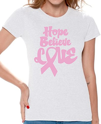 Awkward Styles Women's Hope Believe Love T-Shirt Cancer Awareness Shirt + Cancer Necklace M White (Womens T-shirt Believe)