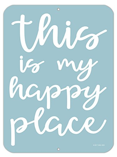 (Honey Dew Gifts This is My Happy Place - 9 x 12 inch Metal Aluminum Novelty Sign Decor - Made in The USA)