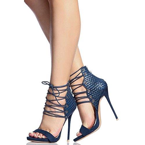 sandali alto Blue con 38 a fine stringati Black da molte Color banchetto con Size Angel adatti beauty EU con love Sandali donne tacco occasioni tacco le per xwFXqvXP