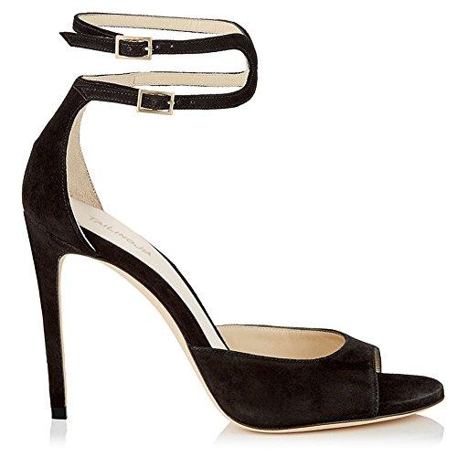 L@YC Women's Sandals Bandages Buckle Peep Toe Kitten High Heels/Party Dress/Court Black 6pTS6zWt1