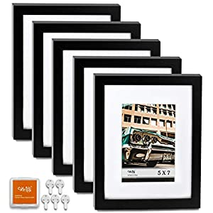 "CAVEPOP 8×10 Black Picture Frame with Mat Set of 5, Made to Display 8×10"" Without Mat, 5×7 with Mat – Large Wall Hanging…"