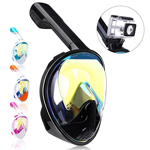 QingSong Newest Version Full Face Snorkel Mask with Safety Free Breathing System, 180 Degree Panoramic Snorkel Set with Detachable Camera Mount Anti-Fog Anti-Leak ()