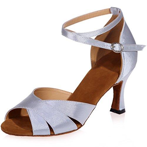 Für Sandalen Abend Prom Peep Schuhe Hochzeit High Frauen Strap SZXF8349 Größe Glitter Cross Satin Braut Heel Toe Sarahbridal Silber 46wOqRq
