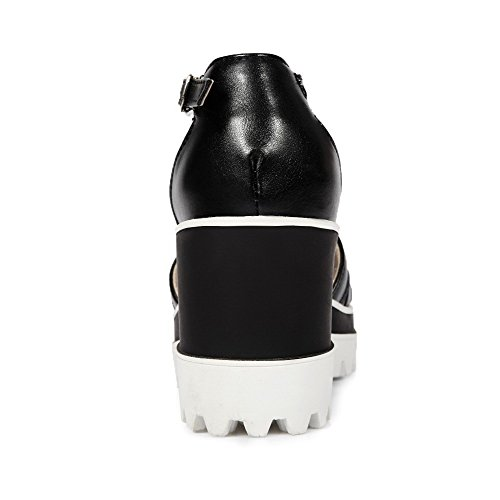 AllhqFashion Womens Solid PU High Heels Open Toe Buckle Platforms & Wedges Black fiZ9K