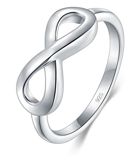 BORUO 925 Sterling Silver Ring High Polish Infinity Symbol Tarnish Resistant Comfort Fit Wedding Band Ring Size 5