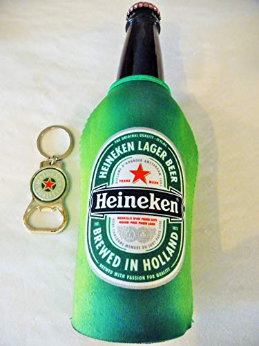 Heineken Neoprene Bottle Suit with Zipper and Bottle Opener/Key Chain Set - Bottle Koozie Cooler Coozie Coolie Huggie