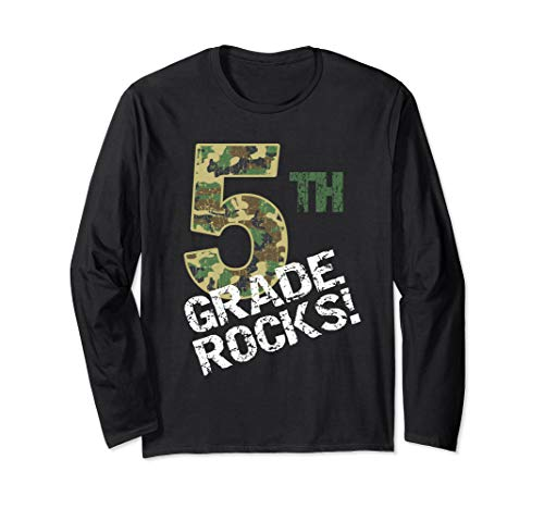(Camo 5th Grade Rocks for Boys or Girls Long Sleeve T-Shirt )