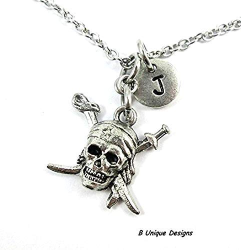 Pirate Skull Swords Beach Necklace Travel Personalized Initial +Name Jewelry Women, Boys, Girls Custom -