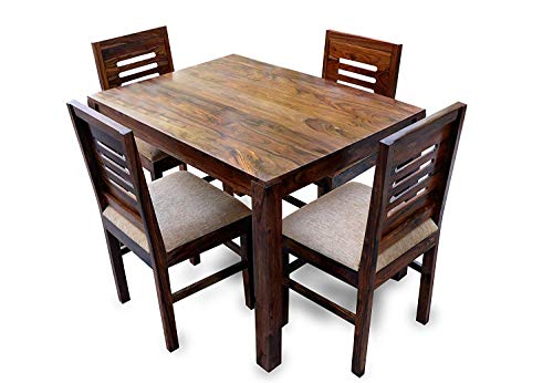 RSFURNITURE Solid Sheesham Wood, 4 Seater Dining Table Set with 4 Cushion (Natural Brown Finish)