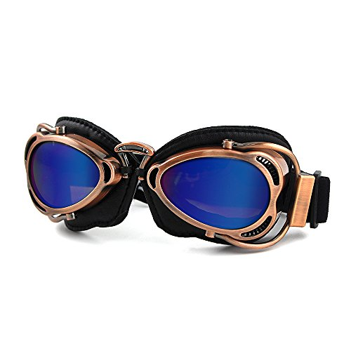 Motorcycle Ridding Goggles Sports Outdoor Clear Lenses UV Protection Sunglasses Vintage Aviator Pilot Goggles (Copper Frame with Color Lenses)