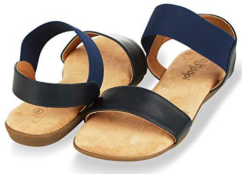 omen   Cute, Open Toe, Wide Elastic Design, Summer Sandals  Comfy, Faux Leather Ankle Straps W/Flat Sole, Memory Foam Insole  (8, Navy-514) ()
