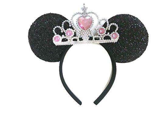 MeeTHan Mickey Mouse Ears Headband Minnie Mouse ears Princess Tiara headbands : M6 (Black-Pink1-L)