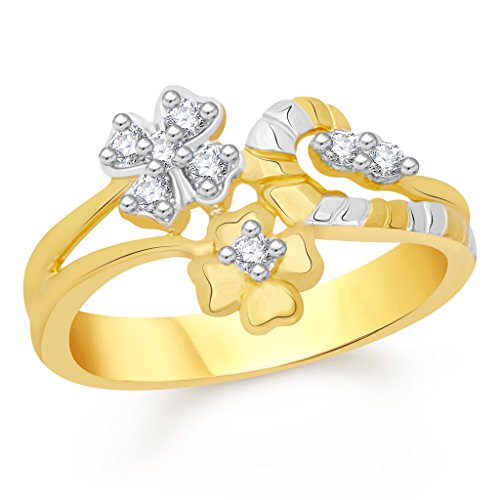 VK Jewels Shapely Leafs Gold and Rhodium Plated Alloy Ring for Women   Girls   FR2358G [VKFR2358G]