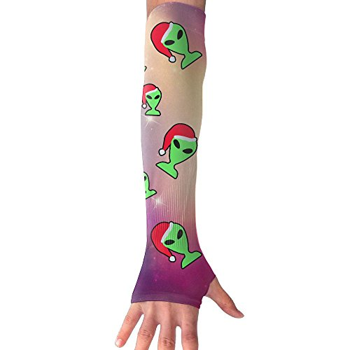 Green Alien Cartoon Print Christmas.PNG Unisex Protection Hand Cover Arm Sleeves Cool Cover Sun For Outdoor Activities 1 Pair