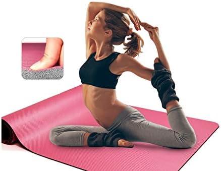 Yoga mat ヨガマットマットスポーツフィットネスPUヨガマット滑り止めソリッドカラーのマットは肥厚ヨガマットを広がりました workout (色 : Pink)