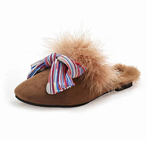 DANDANJIE Zapatillas De La Mujer De Felpa De Tacón Plano Talón De Inicio Zapatos Otoño Cierre Zapatos De Pie Brown
