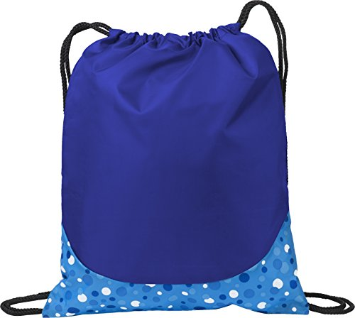 Non Woven Bubble (Patterned Drawcord Cinch Pack Drawstring Bags (Blue Bubbles))