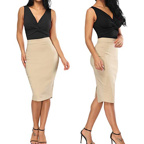 b80fa1db91 Premium Women's Pencil Skirt, Elastic Waist, Stretch Bodycon Midi Skirt