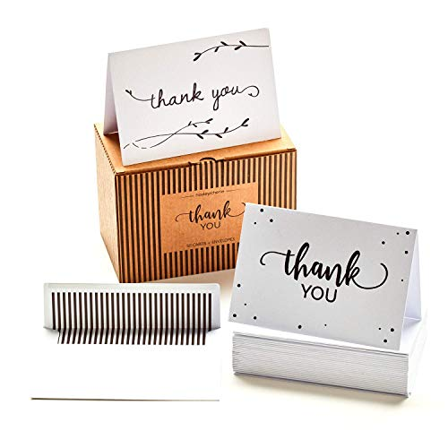 - 50 Luxury Thank You Cards and Self Seal Envelopes - Black Foil Design with Matching Envelopes - Premium Heavyweight Card Stock with Hammered Texture - 4x6 Photo Size - Hayley Cherie