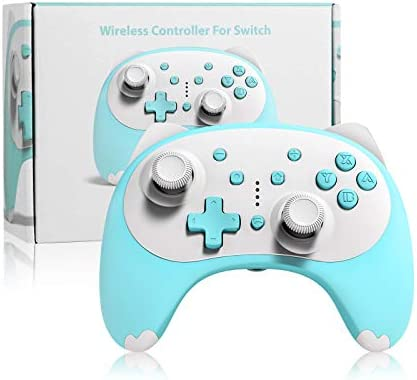 KINGEAR Switch Controller, Wireless Controller for Nintendo Switch Games, Gifts for Men and Women Remote Wake up Gamepad Cartoon Kitten Switch Pro Controller for Nintendo Switch Lite Controller