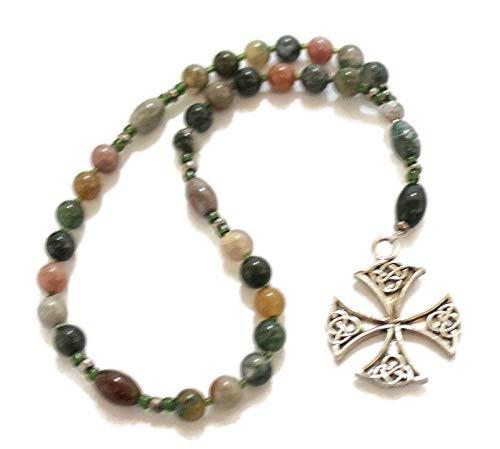 Fancy Jasper Anglican Rosary, Ornate Canterbury Cross