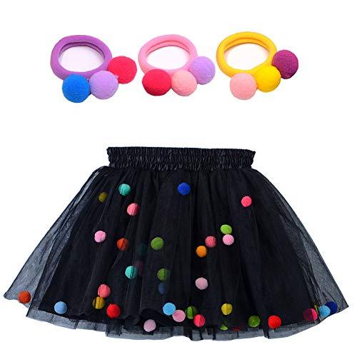(Bingoshine 4 Layers Soft Tulle Puff Ball Girls Tutu Skirts with Silky Lining (Black,)