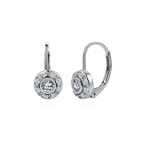 Silver Leverback Cubic Zirconia Earrings - BERRICLE Rhodium Plated Sterling Silver Cubic Zirconia CZ Halo Leverback Dangle Drop Earrings