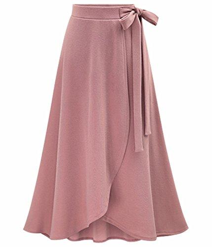 UMilk Mujeres Elegante Alta Cintura Split Irregular Falda Falda Rosa