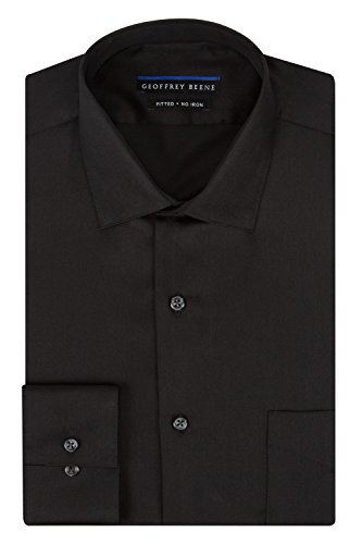 Geoffrey Beene Men's Fitted Sateen Dress Shirt, Black, (Van Heusen Fitted Dress Shirts)