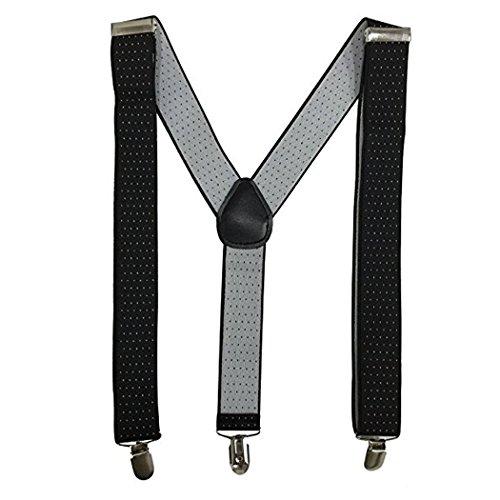 Kllniss Men's Clip Suspender Y-Back Adjustable Elastic Shoulder Strap 1.4'' Wide (One Size, Black) by Kllniss (Image #2)