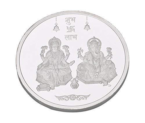 Kundan 999 Silver Lakshmi Ganesh Precious Coin